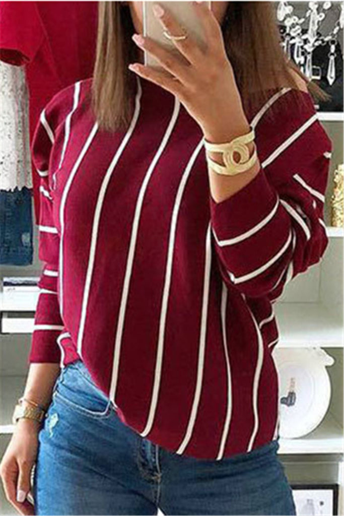 Stripe Print Skew Neck Long Sleeve Top