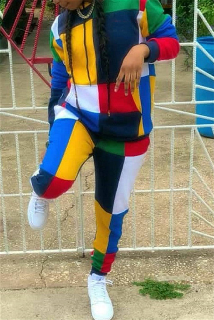 Color Block Hooded Collar Casual Two Piece Outfits - WHATWEARS