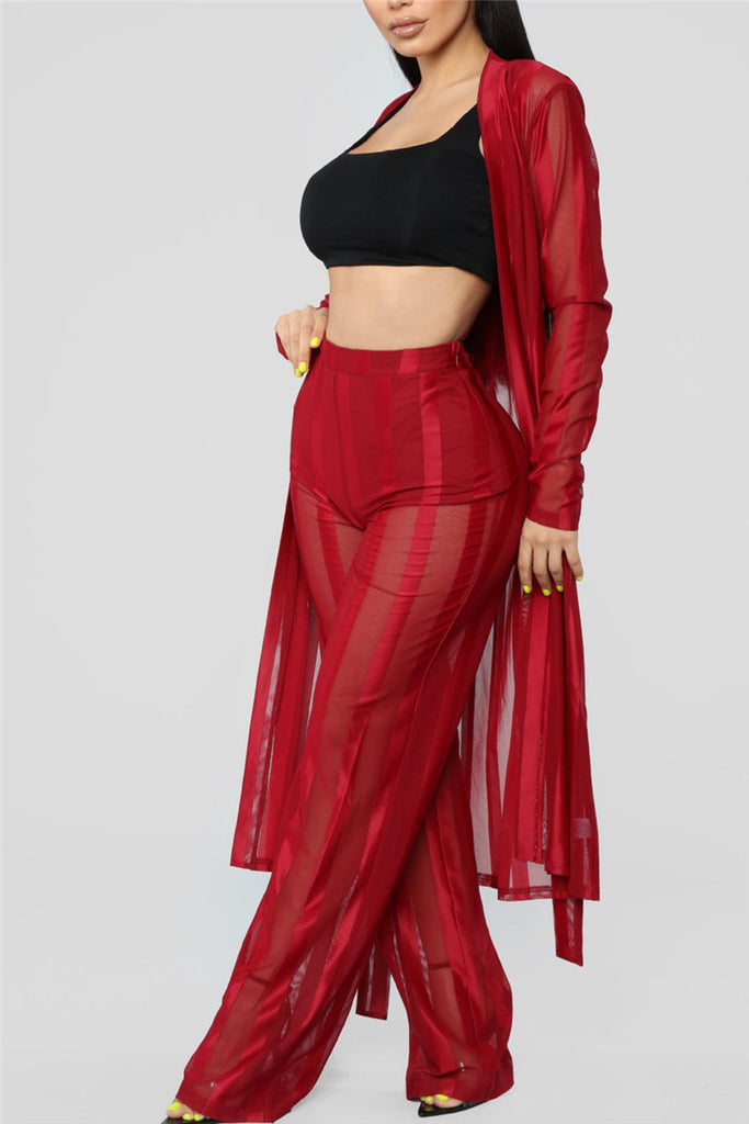 Semi Sheer Long Sleeve Sexy Two Piece Sets