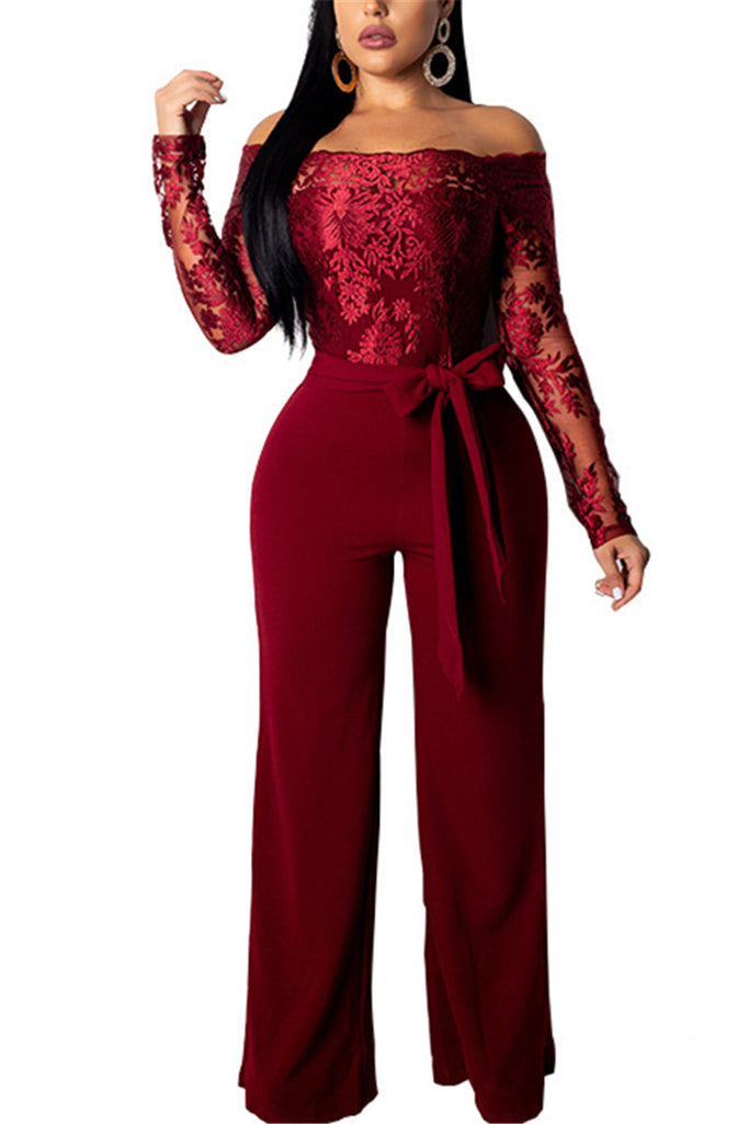 Off the Shoulder Lace Panel Belted Jumpsuit