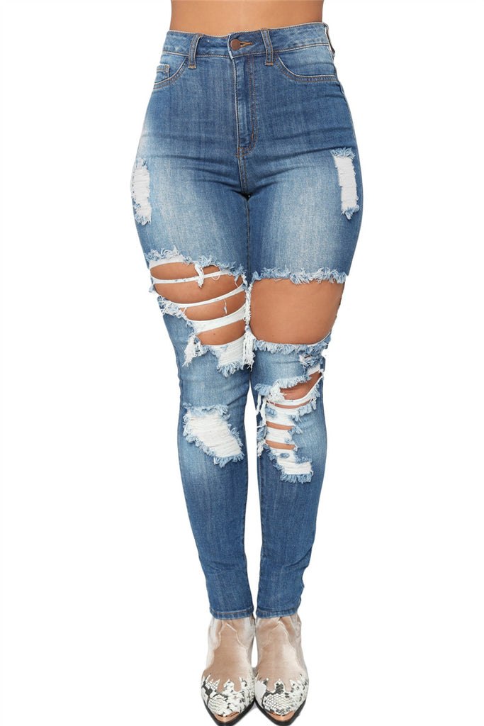 Distressed Zip Up Mid Wash High Waist Jeans - WHATWEARS
