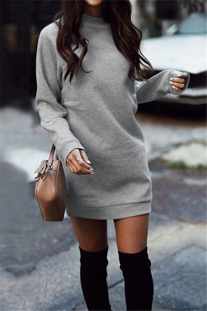 Round Neck Solid Color Long Sleeve Casual Dress