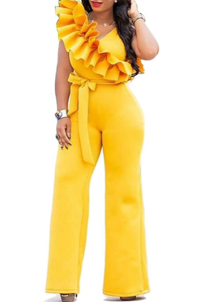Ruffled Sleeveless Solid Color Belted Jumpsuit