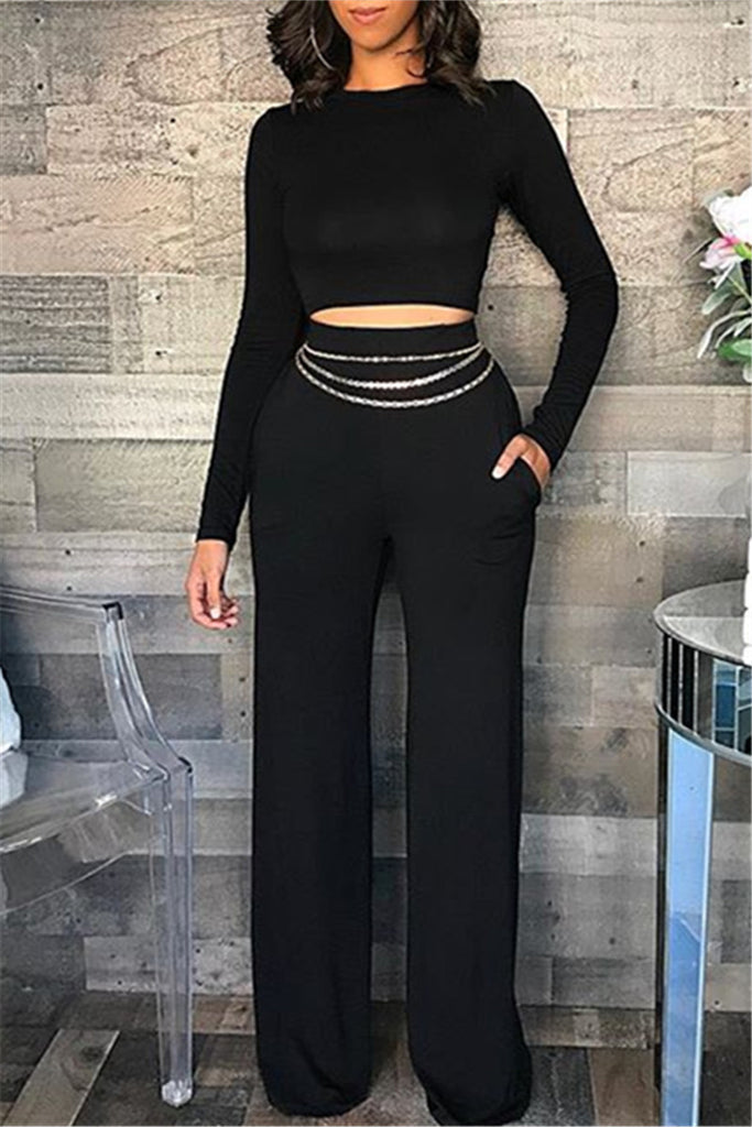 Solid Color Long Sleeve Flare Two Piece Sets