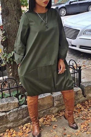 Hoodie Pocket Solid Color Mini Dress