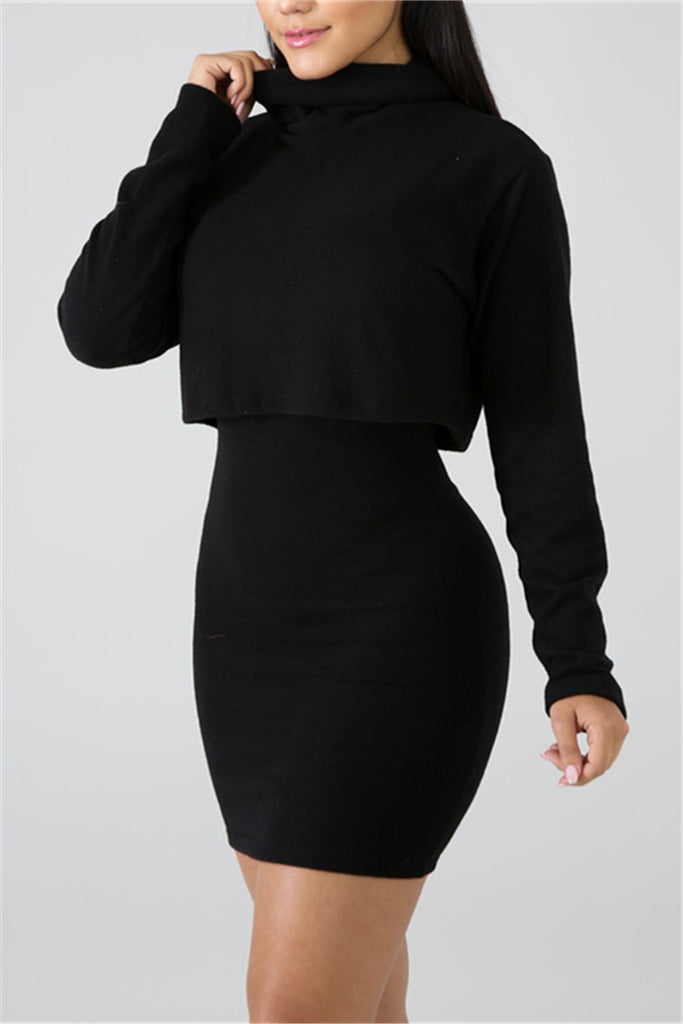 Cowl Neck Solid Color Long Sleeve Two Piece Dress - WHATWEARS