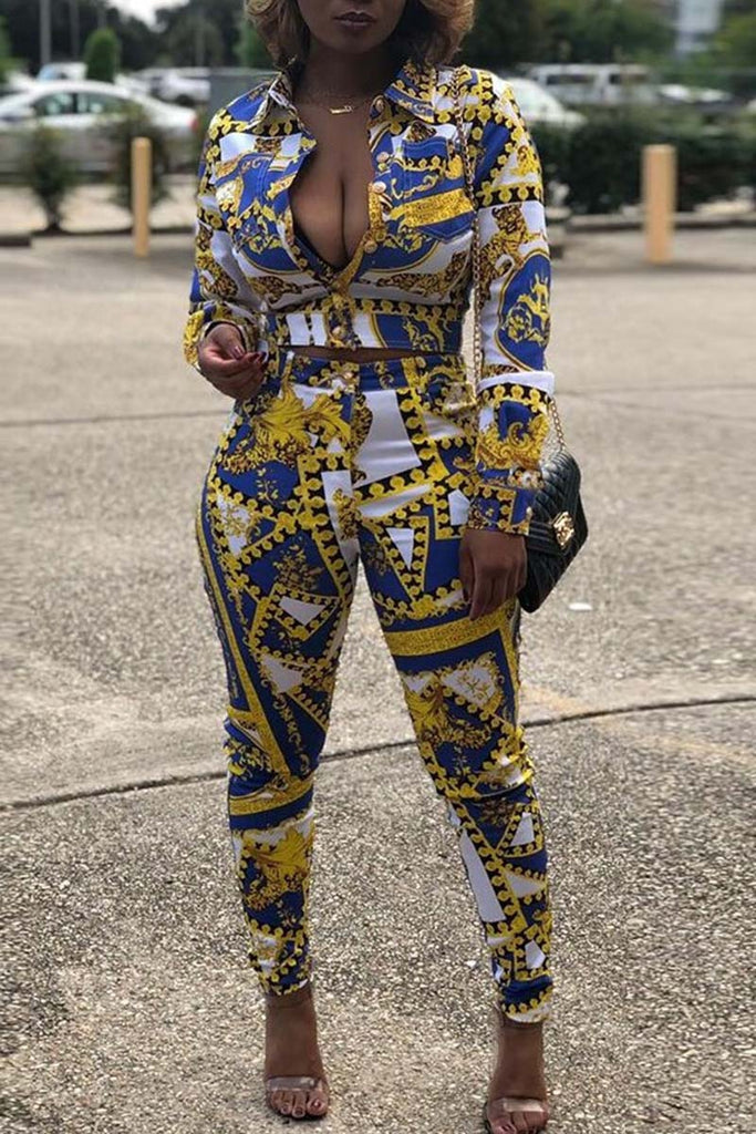 Digital Print Long Sleeve Two Piece Outfits - WHATWEARS