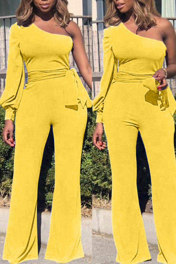 Off One Shoulder Solid Color Casual Jumpsuit With Belt