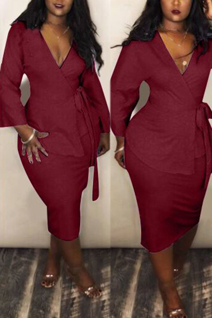 V Neck Solid Color Belted Long Sleeve Two Piece Dress