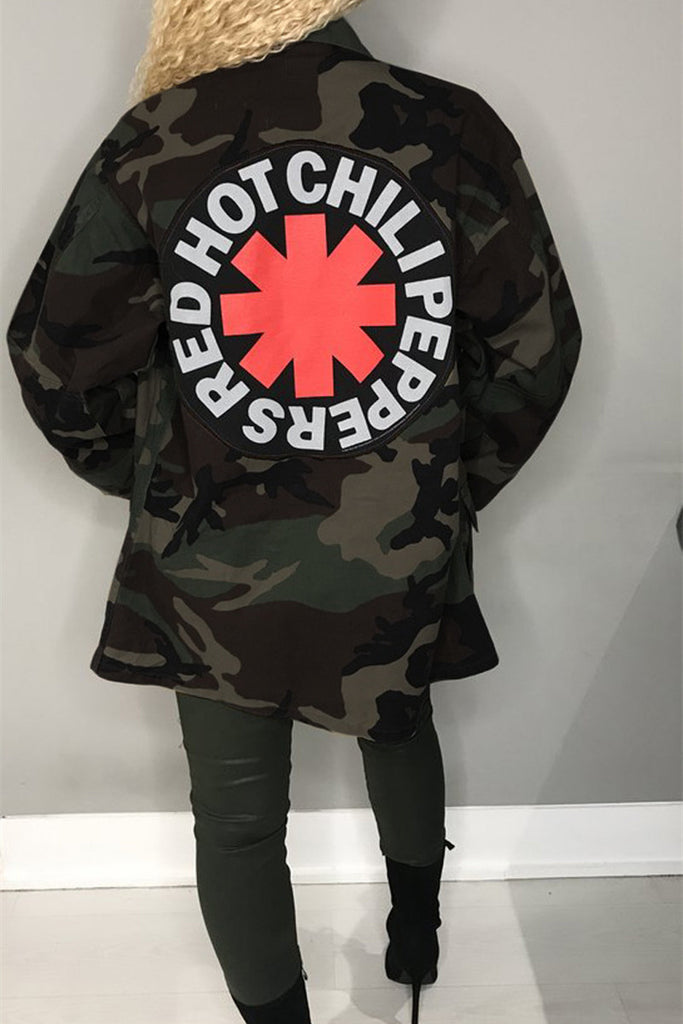 Camouflage Button Up Letter Print Casual Coat - WHATWEARS