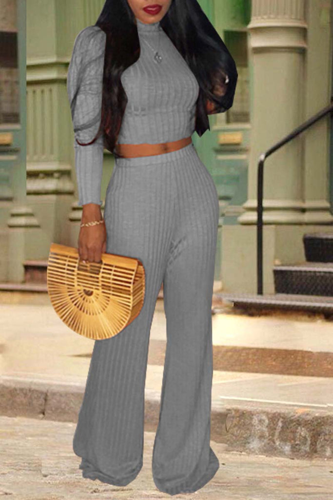 Fashion High Neck Long Sleeve Top & Solid Flare Pants - WHATWEARS
