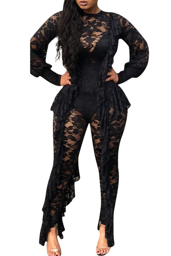 Solid Color Lace Tassel Long Sleeve Jumpsuit