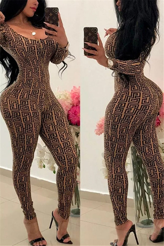 Zip Up Long Sleeve Printed Sexy Jumpsuit