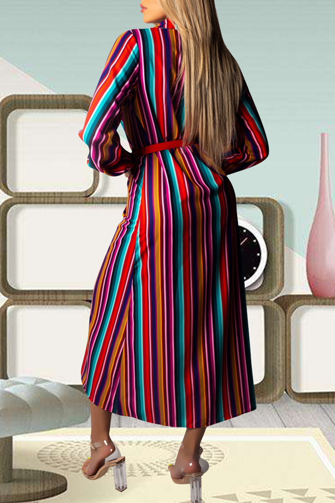 Button Up Stripe Print Long Sleeve Maxi Dress - WHATWEARS