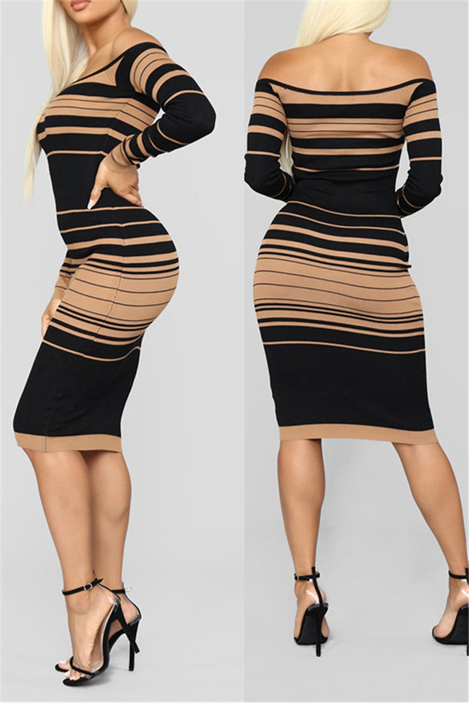 Off the Shoulder Stripe Print Sheath Dress