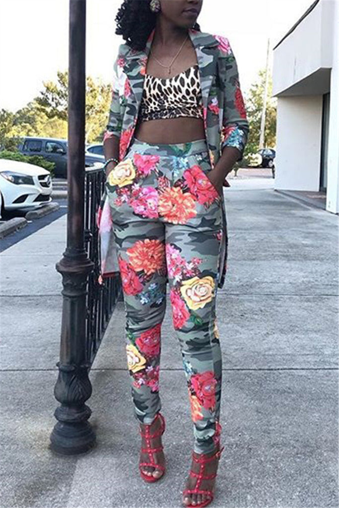 Flower Print High Waist Pocket Two Piece Sets - WHATWEARS