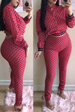 Lattice Print Long Sleeve Zipper Up Two Piece Outfits