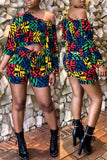 Mixed Color Printed Long Sleeve Two Piece Sets