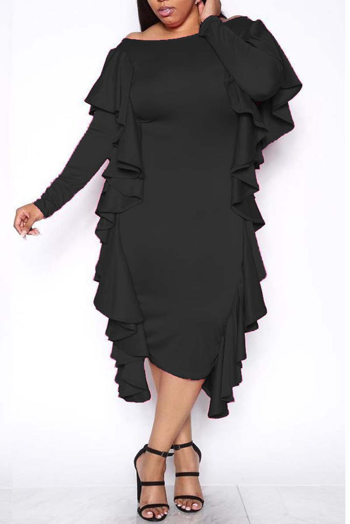 Ruffled Solid Color Long Sleeve Midi Dress