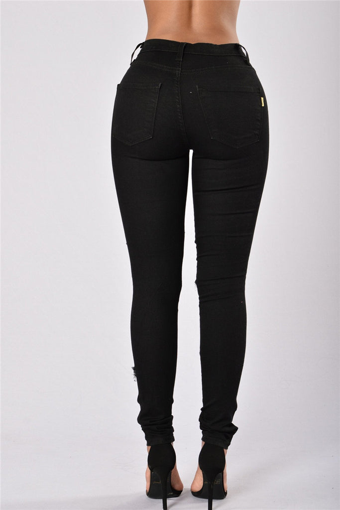 Distressed Hollow Out Solid Black Pocket Jeans - WHATWEARS