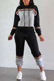 Color Block Stripe Patchwork Hooded Collar Two Piece Outfits - WHATWEARS