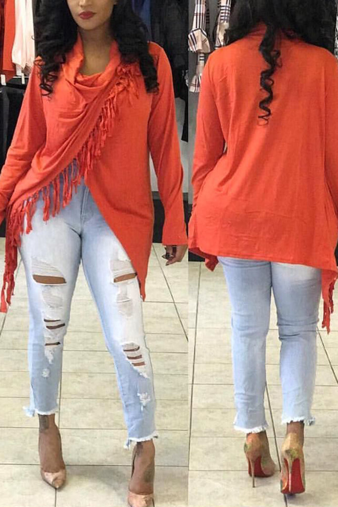Tassels Solid Color Long Sleeve Asymmetric Blouse