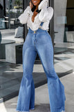 Flared Denim Casual Suspender Trousers - WHATWEARS