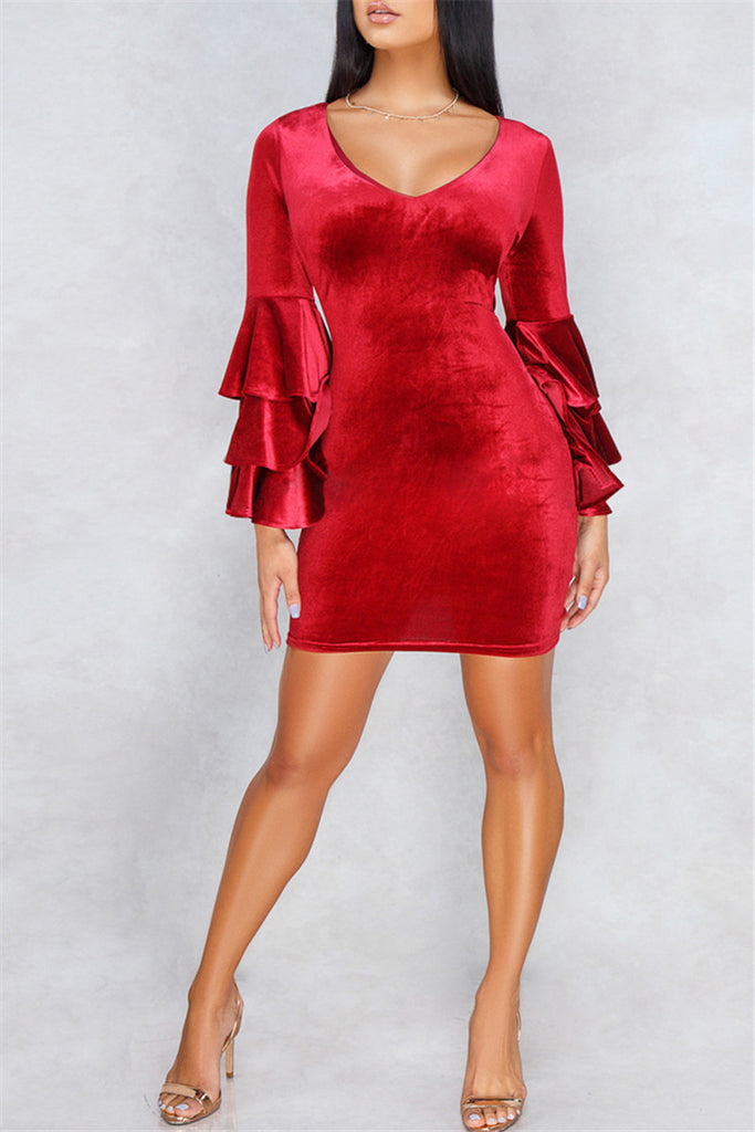 Ruffled Flare Sleeve Solid Color Velvet Bodycon Dress