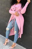 Turndown Collar Long Sleeve Solid Color Outerwear