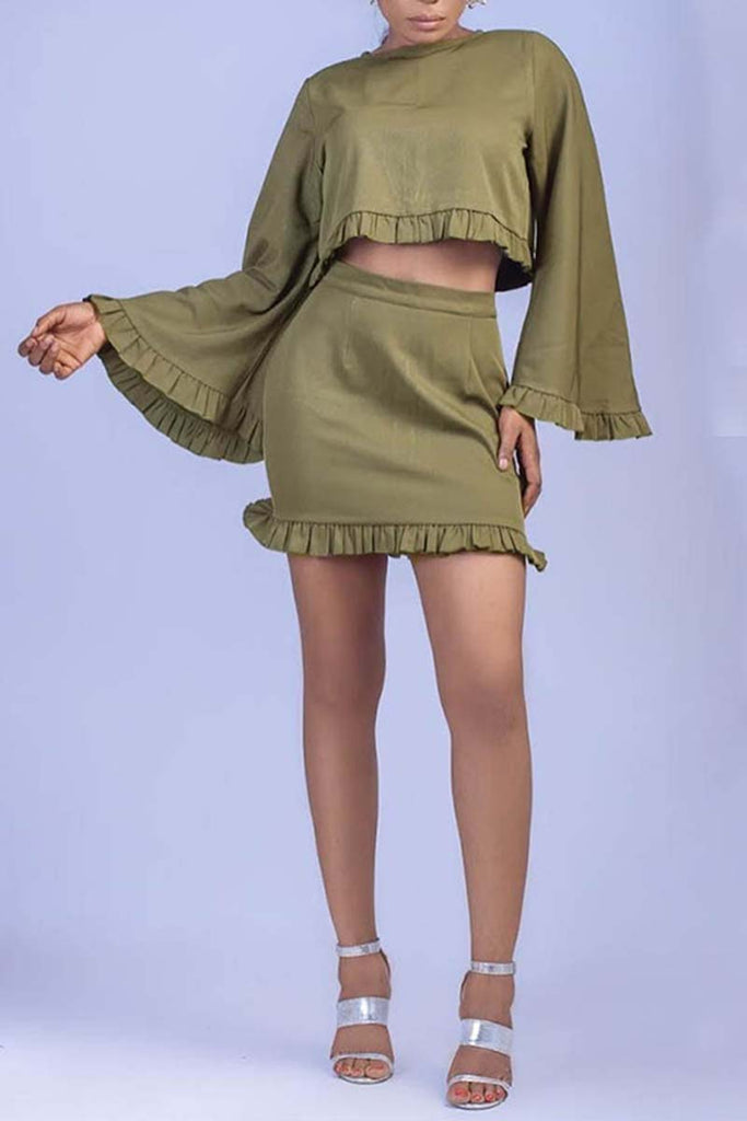 Fungus Edge Flare Sleeve Solid Color Sexy Two Piece Mini Dress - WHATWEARS