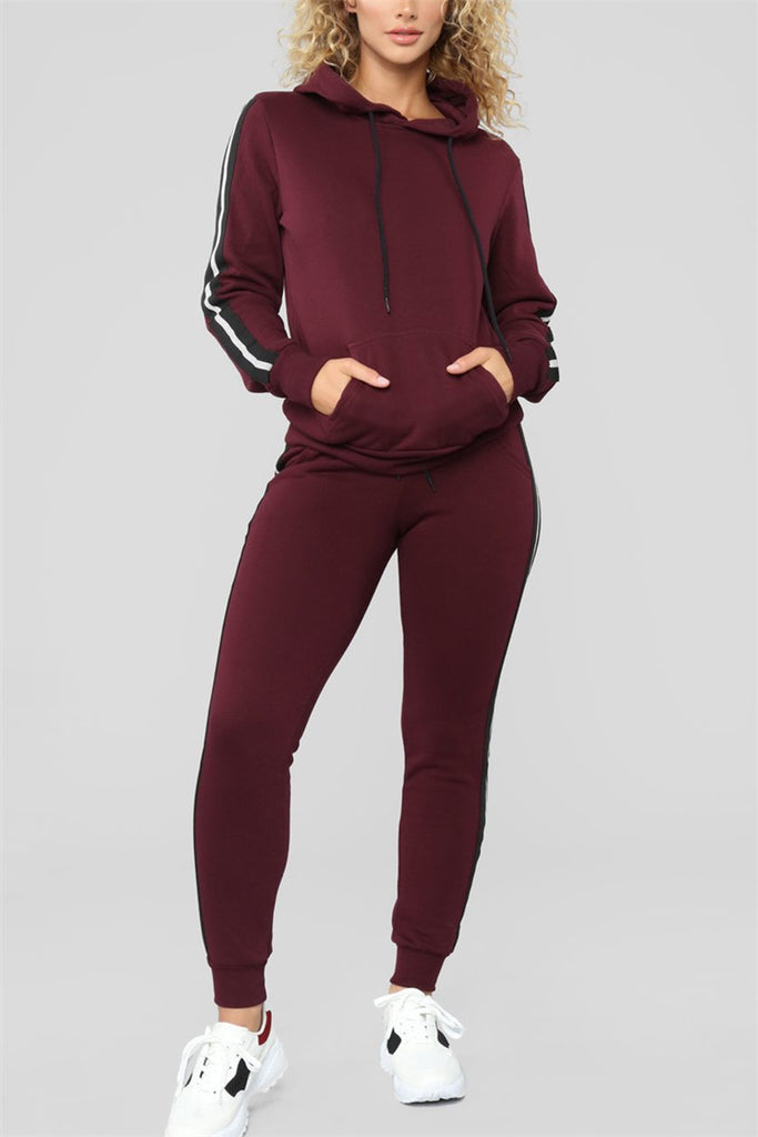 Hooded Collar Long Sleeve Pocket Casual Top & Pants
