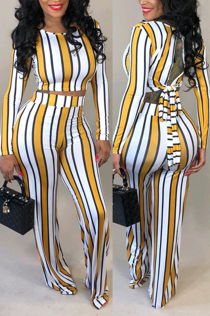 Stripe Print Long Sleeve Back Bandage Two Piece Sets