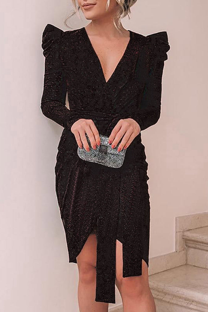 Ruffled Sleeve V-Neck Slit Hem Club Dress With Belt