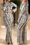 Printed Long Sleeve Casual Two Piece Outfits