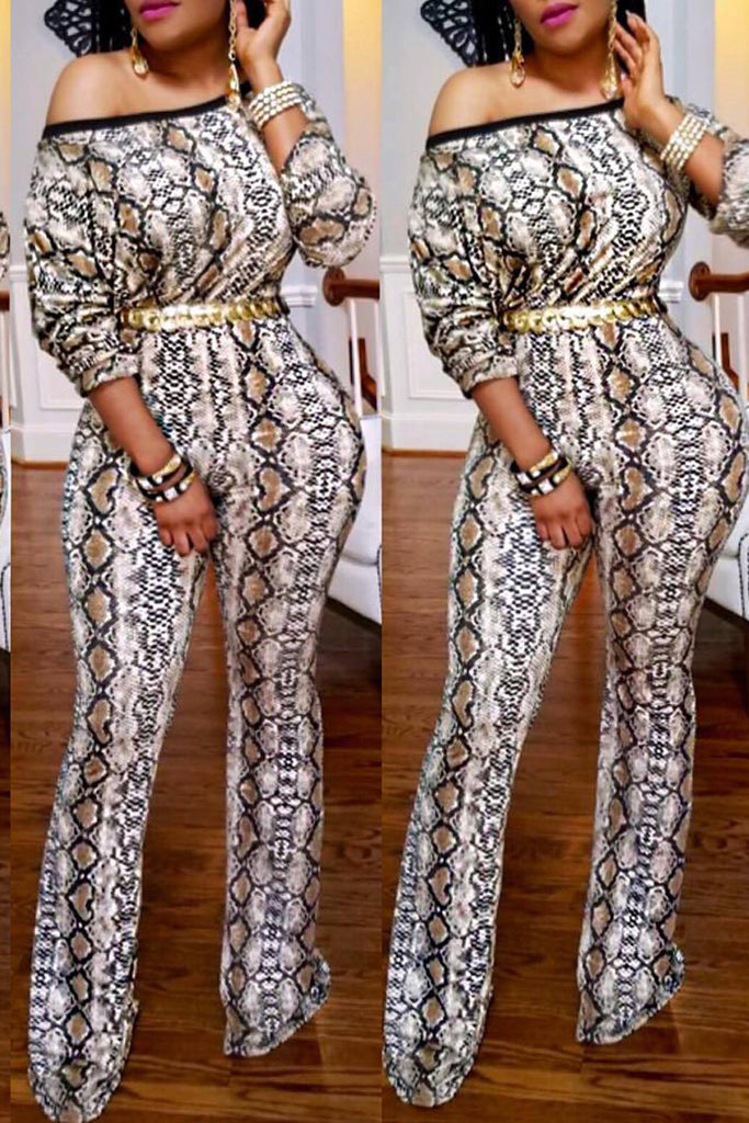 Mixed Color Printed Long Sleeve Jumpsuit