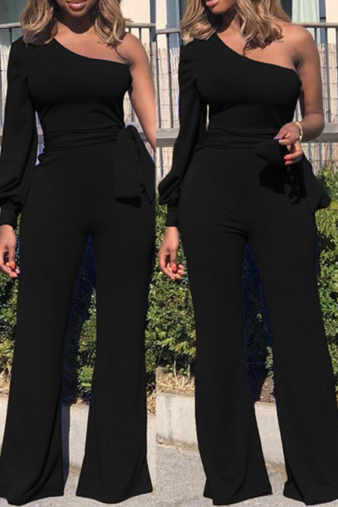 2ac19452bd82 Off One Shoulder Solid Color Casual Jumpsuit With Belt – WHATWEARS