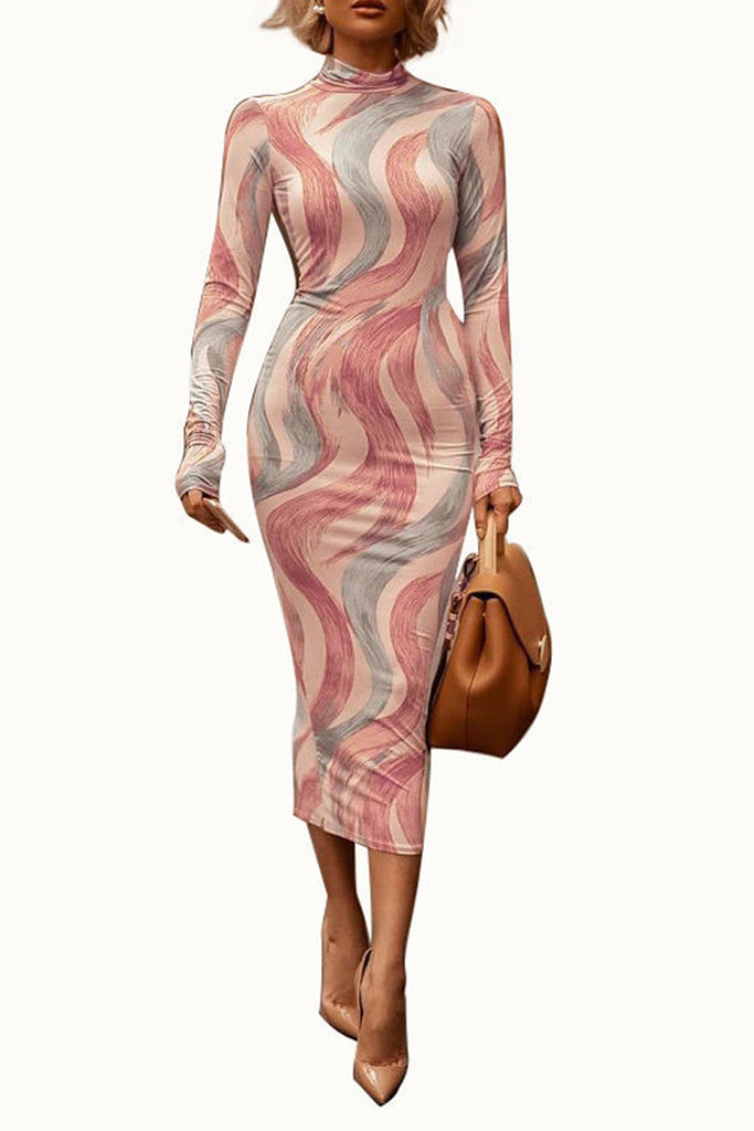 Digital Print Back Zipper High Neck Midi Dress