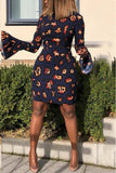 Printed Flare Sleeve Sexy Midi Dress