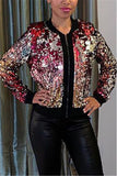 Zip Up Long Sleeve Sequined Casual Jacket
