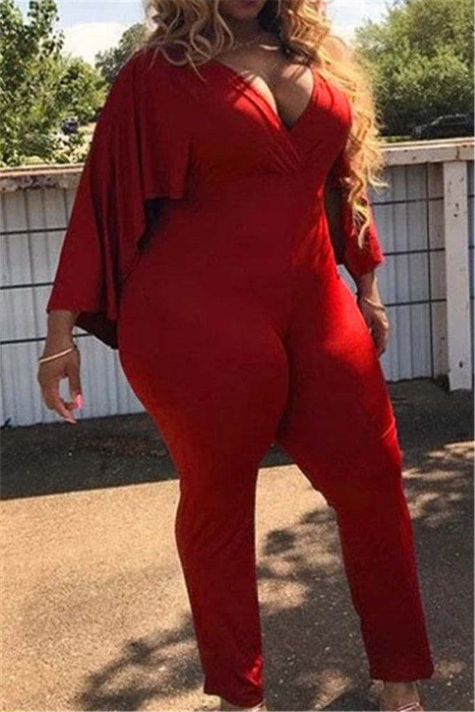 Cape Sleeve V Neck Solid Color Sexy Jumpsuit - WHATWEARS
