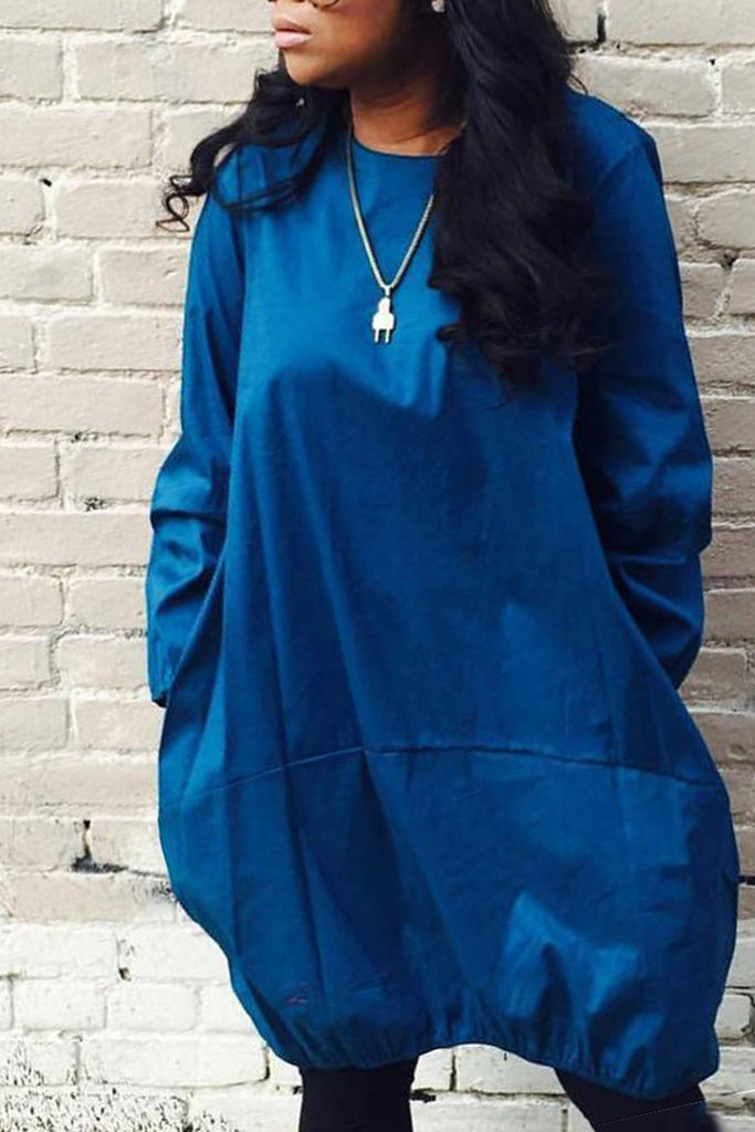 Solid Color Long Sleeve Pocket Casual Midi Dress