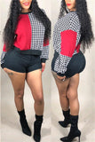 Houndstooth Color Block Long Sleeve Sweatshirt