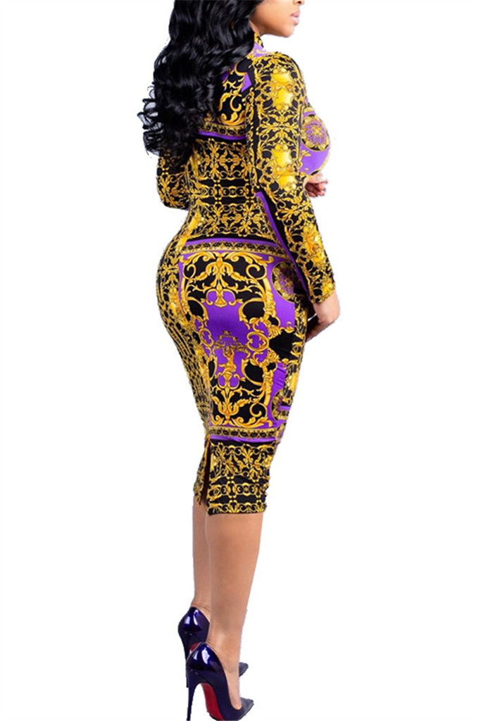 High Neck Long Sleeve Printed Midi Dress