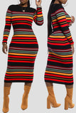 Rib Rainbow Striped Midi Dress