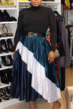 High Waist Color Block Pleated Skirt