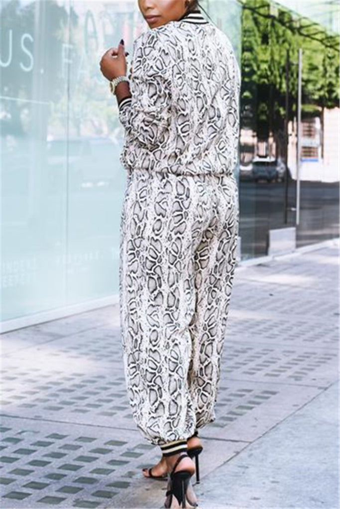 Snake Print Zip Up Casual Two Piece Sets