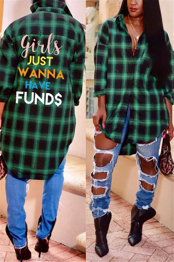 Asymmetric Hem Letter Print Plaid Casual Shirt - WHATWEARS