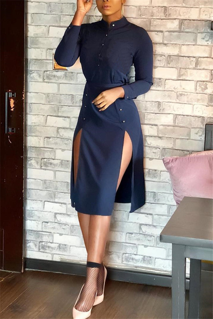 Double Slit Long Sleeve Button Up Midi Dress - WHATWEARS