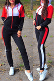 Color Patchwork Zip Up Hooded Casual Two Piece Sets - WHATWEARS