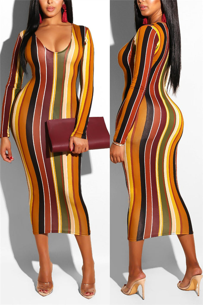 Stripe Print Long Sleeve Midi Dress